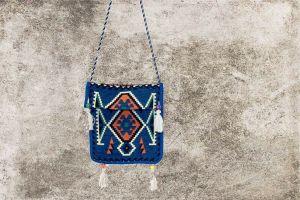 Orientalisches Sitzkissen, Tasche, Orient-Deko, Sark Kösesi, Deko für Orientalische Canta, Blau