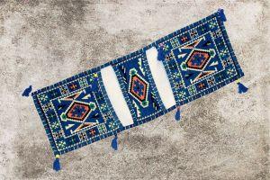 Orientalisches Sitzkissen, Tasche, Sark Kösesi, Deko, blaue Orientalische Satteltasche