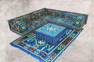 Orientalische Sitzecke, Sark Kösesi, Orientalische Sitzgruppe, Ottomane Blau-13