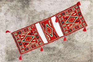 Orientalische Sitzkissen, Tasche, Sark Kösesi, Deko, Orientalische Satteltasche, Rot