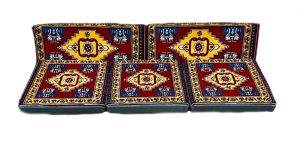 5-tlg. Kissenset, Orientalisch, Sark Kösesi, Yastik, Orient-Sitzecke, Sitzkissen-Set