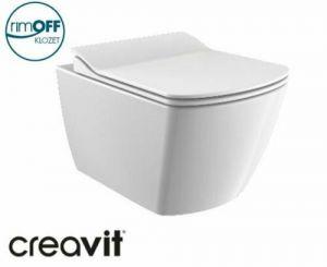 Creavit EG321, Hänge-WC, Toilette, Spülrandloses WC + WC-Deckel Softclose, Taharat