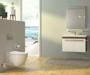 Hänge-WC, mit Taharet-/Bidet, inkl. Armatur, moderne Toilette, Softclose, Spülrandlos, FE322-3