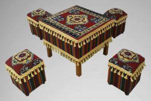 Orientalisches Tisch-Set, Orientalische Sitzecke mit Hockern, Orientalische Ecke, Sark Kösesi