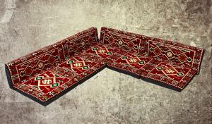 9-tlg. Orientalische Sitzecke, Sark Kösesi, Orientalische Ecke, Bodenkissen, Orient-Deko