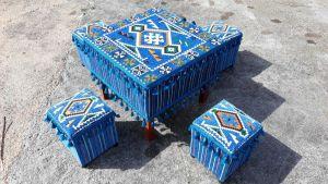 Orientalische Sitzecke, 5-tlg. Orientalisches Tisch-Set, Orientalische Ecke, Hocker-Set