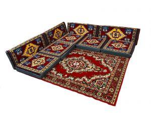 Sark Kösesi, 9-tlg. Kissenset, Orientalische Sitzecke, Sitzkissen-Set + Teppich