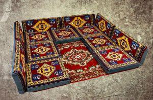 13-tlg. Orientalische Sitzecke - Sark Kösesi - Orientalisches Sofa + Teppich