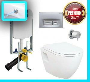 WC mit Spülkasten + Deckel, Set Hänge-Wand-Dusch-WC, Taharet/Bidet, TP325