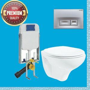 Creavit Wand-WC-SET TP320, WC-Vorwandelement, Set mit WC-Sitz/-Deckel, Komplettset, Spülkasten