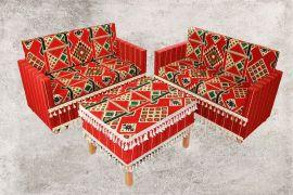 Zeder, Orientalische Sitzecke, Sark Kösesi, Orientalische Sitzmöbel , Rot Zeder-1